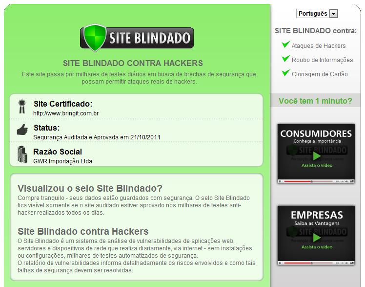 BringIT é certificada polo Site Blindado, total segurança para sua compra!