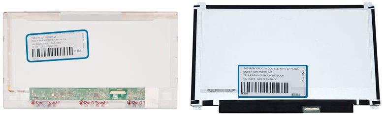 Exemplo da parte traseira de tela com as etiquetas coladas contendo o Part Number